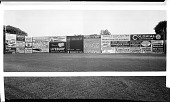 view [Advertisements on baseball field outfield walls, probably Griffith Stadium] [panoramic cellulose acetate photonegative] digital asset: [Advertisements on baseball field outfield walls, probably Griffith Stadium] [panoramic cellulose acetate photonegative].
