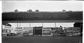 view [Stadium seats and advertisements in outfield of baseball field.] [Acetate film photonegative] digital asset: [Stadium seats and advertisements in outfield of baseball field.] [Acetate film photonegative, undated.]