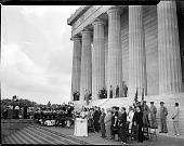 view [Carol Brice at microphone, leading crowd in singing, at Lincoln Memorial, with Pres. Harry Truman and Eleanor Roosevelt standing nearby: black-and-white photonegative,] digital asset: [Carol Brice at microphone, leading crowd in singing, at Lincoln Memorial, with Pres. Harry Truman and Eleanor Roosevelt standing nearby: black-and-white photonegative,] June, 28, 1947.