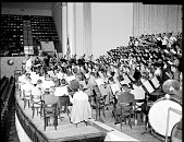 view Dean Lawson and H.U. Choir at Constitution Hall [from envelope; #1 of 2] [acetate film photonegative,] digital asset: Dean Lawson and H.U. Choir at Constitution Hall [from envelope; #1 of 2] [acetate film photonegative,] Jan. 1955.