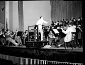 view Dean Lawson and H.U. Choir at Constitution Hall [from envelope; #1 of 2]. [Acetate film photonegative,] digital asset: Dean Lawson and H.U. Choir at Constitution Hall [from envelope; #1 of 2]. [Acetate film photonegative,] Jan. 1955.