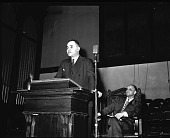 view Dr. Ralph Bunche Forum Series [from envelope; #1 of 2] [acetate film photonegative,] digital asset: Dr. Ralph Bunche Forum Series [from envelope; #1 of 2] [acetate film photonegative,] [1940-1950].