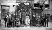 view [Group of men and women outside of building] [acetate film photonegative, banquet camera format.] digital asset: [Group of men and women outside of building] [acetate film photonegative, banquet camera format.]