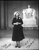 view [Marian Anderson with Lincoln Memorial statue : film negative and paper print, 1952.] digital asset number 1