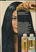 view If she let go of her comb, it might float down through her hair by itself [Print advertising.] digital asset: If she let go of her comb, it might float down through her hair by itself [Print advertising.] 1967.
