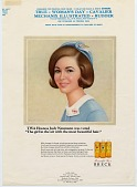 """view TWA Hostess Judy Newmann was voted """"The girl in the air with the most beautiful hair."""" [Print advertising.] digital asset: TWA Hostess Judy Newmann was voted """"The girl in the air with the most beautiful hair."""" [Print advertising.] 1966."""