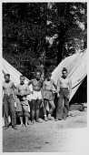 view [World War II conscientious objectors in front of their tents near Markleeville, California, July 1943 : black and white photoprint] digital asset: [World War II conscientious objectors in front of their tents near Markleeville, California, July 1943 : black and white photoprint].