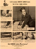 view In 60 seconds, Dorothy Lamour learns how to buy a better mattress [black and white advertisement] digital asset: In 60 seconds, Dorothy Lamour learns how to buy a better mattress [black and white advertisement].