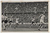 view [Women athletes running in the Olympics in Berlin : black and white photoprint] digital asset: [Women athletes running in the Olympics in Berlin : black and white photoprint].