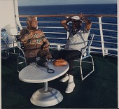 view [Dizzy Gillespie and Benny Carter aboard SS Norway: color photoprint,] digital asset: [Dizzy Gillespie and Benny Carter aboard SS Norway: color photoprint,] 1988.