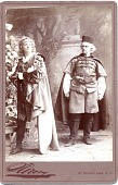 view [Actor and actress in elaborate nineteenth century costumes : black-and-white photoprint.] digital asset: [Actor and actress in elaborate nineteenth century costumes : black-and-white photoprint.]