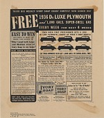 view Free 1936 De Luxe Plymouth and 1,000 gals. Super-Shell gas. [Print advertising.] Am.-Sunday Weekly (Pacific Coast digital asset: Free 1936 De Luxe Plymouth and 1,000 gals. Super-Shell gas. [Print advertising.] Am.-Sunday Weekly (Pacific Coast 1936