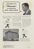 """view Hotel Dempsey Says """"Welcome"""" to its Guests With Ivory-Camay.. [Print advertising.] Hotel industry publications digital asset: Hotel Dempsey Says """"Welcome"""" to its Guests With Ivory-Camay.. [Print advertising.] Hotel industry publications. 1938"""