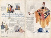 view Then, pounds of muslin in trunks--now, wisps of silk in smart handbags! [Print advertising. Women's publications.] digital asset: Then, pounds of muslin in trunks--now, wisps of silk in smart handbags! [Print advertising. Women's publications.] 1927.