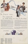 """view In Paris Too... """"But Mademoiselle, one should always use Ivory for fine things."""" [Print advertising, general circulation publications,] digital asset: In Paris Too... """"But Mademoiselle, one should always use Ivory for fine things."""" [Print advertising, general circulation publications,] 1930."""