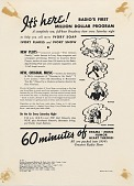view It's here! Radio's first Million Dollar Program. [Print advertising.] Grocery trade papers digital asset: It's here! Radio's first Million Dollar Program. [Print advertising.] Grocery trade papers. 1934