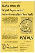 view Of radio stations serving Negroes exclusively...WANN serves the largest Negro market in America -- outside of New York! [flier] digital asset: Of radio stations serving Negroes exclusively...WANN serves the largest Negro market in America -- outside of New York! [flier, undated].