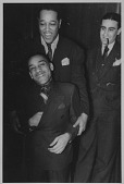 view Chick Webb, Artie Shaw, and Duke Ellington [photoprint] digital asset: Chick Webb, Artie Shaw, and Duke Ellington [photoprint] 1937.
