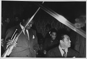 view [Duke Ellington, unidentified trumpet player, and Chick Webb: photograph] digital asset: [Duke Ellington, unidentified trumpet player, and Chick Webb: photograph,] 1937.