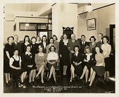 view Miss America with Kansas City Office Staff of / Lever Brothers Co. / Nov. 16, 1943 [in negative] [black and white photoprint] digital asset: Miss America with Kansas City Office Staff of / Lever Brothers Co. / Nov. 16, 1943 [in negative] [black and white photoprint].