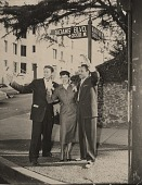 "view Left to Right: Robert Funk, Mrs. Adams and Joe Adams at ""Joe"" Adams Blvd. on ""Joe Adams Day"", March 14, 1953. [black and white photoprint] digital asset: Left to Right: Robert Funk, Mrs. Adams and Joe Adams at ""Joe"" Adams Blvd. on ""Joe Adams Day"", March 14, 1953. [black and white photoprint]."