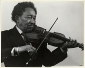 view [Claude Williams playing violin : black and white photoprint] digital asset: [Claude Williams playing violin : black and white photoprint, ca. 1970s.