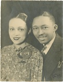 view Claude Williams and his first wife, Mabel, a wedding portrait, ca.1930. [black and white photoprint] digital asset: Claude Williams and his first wife, Mabel, a wedding portrait, ca.1930. [black and white photoprint].