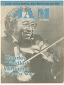 """view Claude Williams on the cover of """"Jazz Ambassador"""" Magazine, 1992. [Black, white and blue] digital asset: Claude Williams on the cover of """"Jazz Ambassador"""" Magazine, 1992. [Black, white and blue]."""