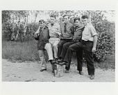 "view CCC enrollees detached from duty at Fort Devins, MA, late 1940. Left to Right: ""Nappy"" from Fall River, Alex Rheame, George Hancock, George ?, Edwin Strakna digital asset: CCC enrollees detached from duty at Fort Devins, MA, late 1940. Left to Right: ""Nappy"" from Fall River, Alex Rheame, George Hancock, George ?, Edwin Strakna."
