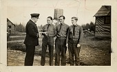"view Massachusetts binder P-MA-01 Company 2105 in Upton, Massachusetts; Photograph of ""Lt. McNally congratulating enrollees (left to right) Richard West, Frank Kuzara, Roger O'Gara for having won the prizes in the Flag Essay constest ... of the DAR; Upton, ... digital asset: Massachusetts binder P-MA-01 Company 2105 in Upton, Massachusetts; Photograph of ""Lt. McNally congratulating enrollees (left to right) Richard West, Frank Kuzara, Roger O'Gara for having won the prizes in the Flag Essay constest ... of the DAR; Upton, Massachusetts; May 2, 1936."
