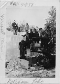 view Pelican Lake / Merrifield, Minn. / CCC # 4751 [on print borders]. [Group of men unloading blocks of ice from the back of a truck and stacking them to store for use in the summer (making an ice house for camp 4751), at Pelican Lake, Merrifield, Minnesot... digital asset: Pelican Lake / Merrifield, Minn. / CCC # 4751 [on print borders]. [Group of men unloading blocks of ice from the back of a truck and stacking them to store for use in the summer (making an ice house for camp 4751), at Pelican Lake, Merrifield, Minnesota, 1938 (24 degrees below zero).]
