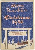 view Menu / and / Roster / Christmas / 1940. / Company 1860-V.C.C.C. / Camp MA-1-C / Mt. Morrison, Colorado [pamphlet] digital asset: Menu / and / Roster / Christmas / 1940. / Company 1860-V.C.C.C. / Camp MA-1-C / Mt. Morrison, Colorado [pamphlet].
