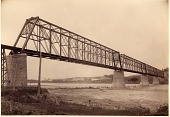 view [Sioux City Bridge, Sioux City, Iowa, south and west portal to bridge: black-and-white photoprint.] digital asset: [Sioux City Bridge, Sioux City, Iowa, south and west portal to bridge: black-and-white photoprint.]