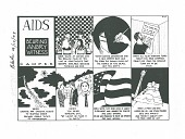 view AIDS / Bearing / Angry / Witness / Camper / Blade, 9/10/1993 [black and white cartoon] digital asset: AIDS / Bearing / Angry / Witness / Camper / Blade, 9/10/1993 [black and white cartoon].