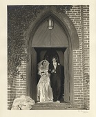 view [Bride and groom exiting church : black-and-white photoprint] digital asset: [Bride and groom exiting church : black-and-white photoprint].