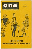 """view ONE: The Homosexual Viewpoint, """"Let's Push Homophile Marriage"""", June 1963 [periodical] digital asset: ONE: The Homosexual Viewpoint, """"Let's Push Homophile Marriage"""", June 1963 [periodical]."""