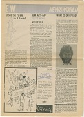 """view Newspaper, Entertainment West (EW), Newsworld, """"What is Gay Pride?"""", """"Should the Parade Be a Parade?"""", """"New Anti-Gay Police Memo Uncovered"""", 1975, black, white and gray digital asset: Newspaper, Entertainment West (EW), Newsworld, """"What is Gay Pride?"""", """"Should the Parade Be a Parade?"""", """"New Anti-Gay Police Memo Uncovered"""", 1975, black, white and gray."""