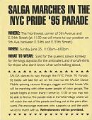 view SALGA Marches in the / NYC Pride 95 Parade]. [flier] digital asset: SALGA Marches in the / NYC Pride 95 Parade]. [flier].