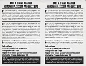 view Take a stand against / Homophobia, Sexism, and Class Bias [black-and-white flier] digital asset: Take a stand against / Homophobia, Sexism, and Class Bias [black-and-white flier, 1997].