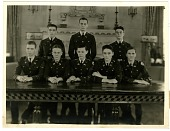 view [Group portrait of eight members of the Culver Military Academy.] [black-and-white photoprint] digital asset: [Group portrait of eight members of the Culver Military Academy.] [black-and-white photoprint].