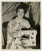 view [Woman with Brother sewing machine] [black-and-white photoprint,] digital asset: [Woman with Brother sewing machine] [black-and-white photoprint,] 1950.