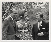 view [Maid of Cotton (center) with President Richard Nixon (left), undated.] [black and white photoprint] digital asset: [Maid of Cotton (center) with President Richard Nixon (left), undated.] [black and white photoprint].