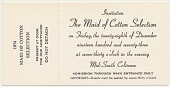 view Ticket/Invitation to the 1974 Maid of Cotton Selection. [black print on buff background] digital asset: Ticket/Invitation to the 1974 Maid of Cotton Selection. [black print on buff background].