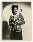view [Member of the International Sweethearts of Rhythm, trombonist.] [Black-and-white photoprint] digital asset: [Member of the International Sweethearts of Rhythm, trombonist.] [Black-and-white photoprint].
