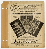 "view Athletic Amusement Club...Torrid Session / ""Jazznocracy"" [sic]. [broadside] digital asset: Athletic Amusement Club...Torrid Session / ""Jazznocracy"" [sic]. [broadside]."