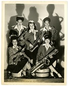 "view ""Sweethearts"" in the saxophone section, 1944. [Black-and-white photoprint] digital asset: ""Sweethearts"" in the saxophone section, 1944. [Black-and-white photoprint]."