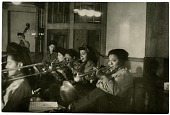"""view [""""Sweethearts"""" rehearsing in Germany, 1945. Black-and-white photoprint.] digital asset: [""""Sweethearts"""" rehearsing in Germany, 1945. Black-and-white photoprint.]"""