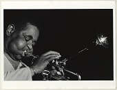 view Dizzy Gillespie [black-and-white photoprint] digital asset: Dizzy Gillespie [ca. 1984-1990] [black-and-white photoprint].