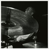 "view Art Blakey at his January 24, 1962 session for ""The American Beat"" at the Van Gelder Studio, New Jersey [black-and-white photoprint] digital asset: Art Blakey at his January 24, 1962 session for ""The American Beat"" at the Van Gelder Studio, New Jersey [black-and-white photoprint]."