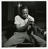 "view Clifford Brown at his August 28, 1053 session for ""The Clifford Brown Sextet (Blue Note) at Audio-Video Studios, New York City [black-and-white photoprint] digital asset: Clifford Brown at his August 28, 1053 session for ""The Clifford Brown Sextet (Blue Note) at Audio-Video Studios, New York City [black-and-white photoprint]."